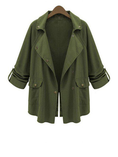 women's Lapel Big Pockets Green Trench Coat - ARMY GREEN XL Mobile