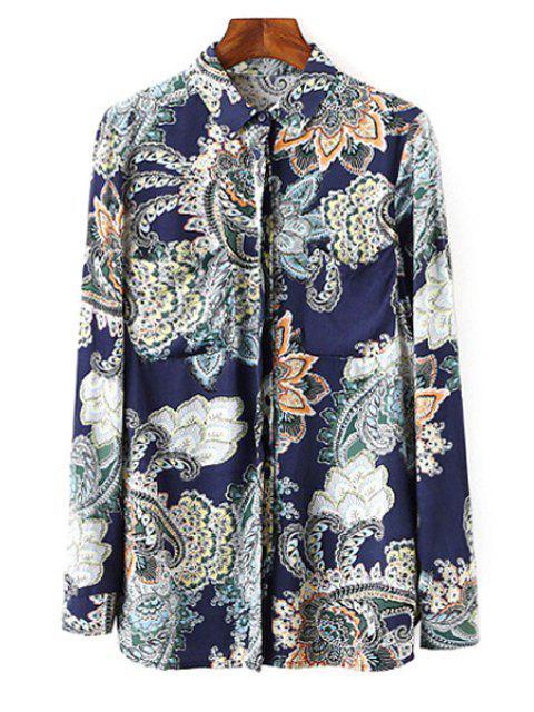 chic Vintage Print Shirt Neck Long Sleeve Shirt - COLORMIX S Mobile