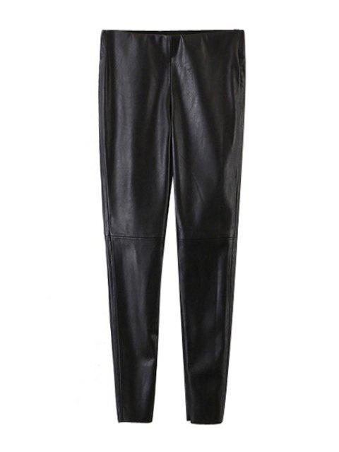 affordable Narrow Feet Faux Leather Black Pants - BLACK L Mobile