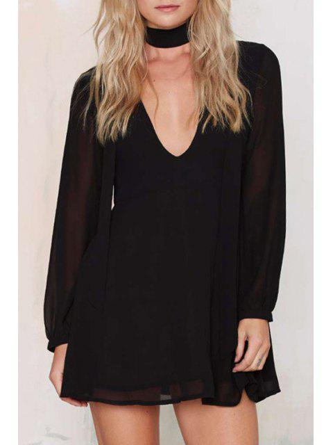 sale Deep V Neck Chiffon Swing Dress - BLACK 2XL Mobile