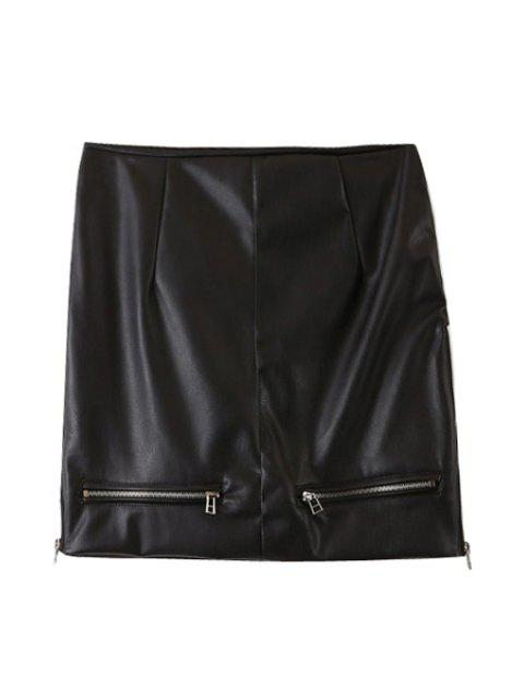 chic PU Leather Zipper High Waist Skirt - BLACK L Mobile