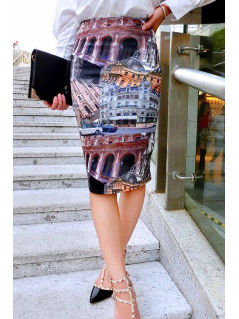 sale Building Print Geometric Women's Skirt - COLORMIX M Mobile