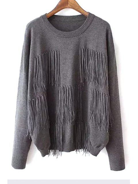 new Tassels Spliced Solid Color Sweater -   Mobile