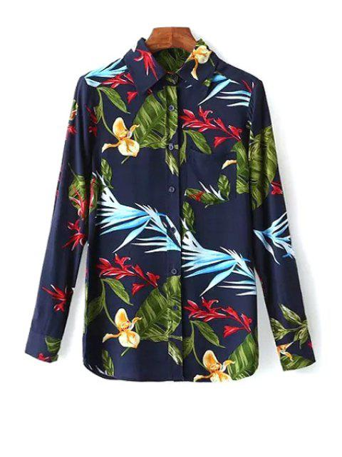 sale OL Style Leaf Print Shirt - PURPLISH BLUE S Mobile