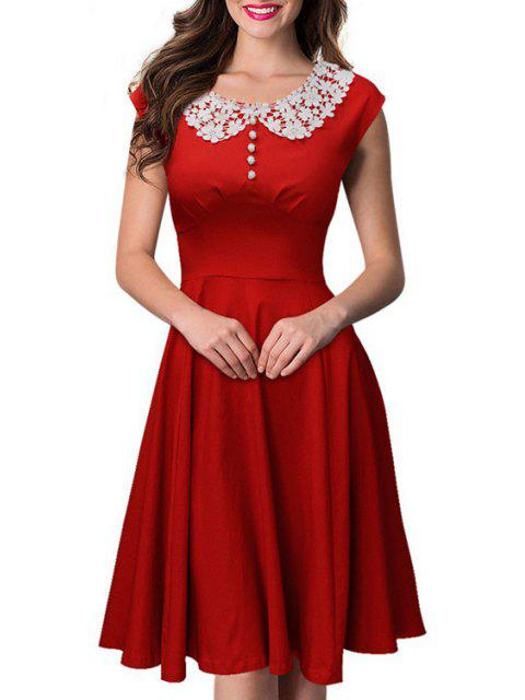 women Short Sleeve Lace Spliced Swing Dress -   Mobile