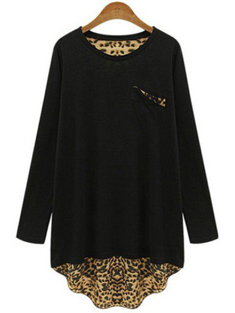 buy Long Sleeve Leopard Back Loose T-Shirt - BLACK 4XL Mobile