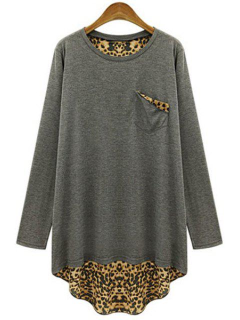 women's Long Sleeve Leopard Back Loose T-Shirt - GRAY 2XL Mobile