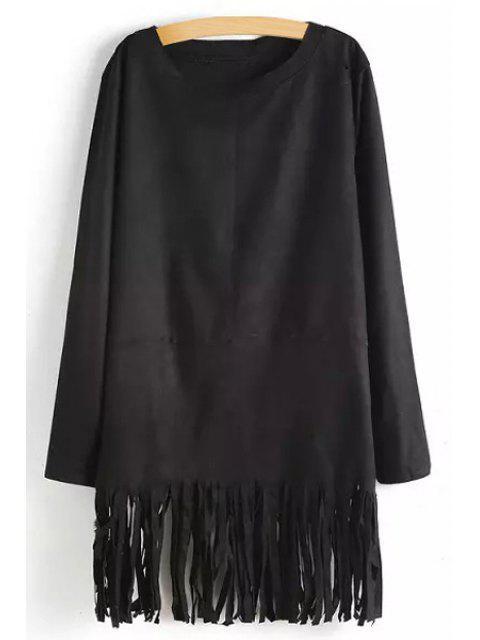 latest Tassels Solid Color Long Sleeve Dress - BLACK M Mobile