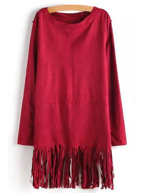 trendy Tassels Solid Color Long Sleeve Dress - RED S Mobile