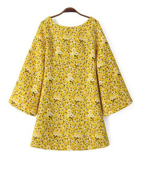 best Tiny Floral Print Scoop Neck Long Sleeve Dress - YELLOW L Mobile
