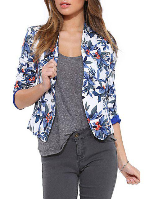 fancy Blue Floral Long Sleeve Blazer - BLUE M Mobile