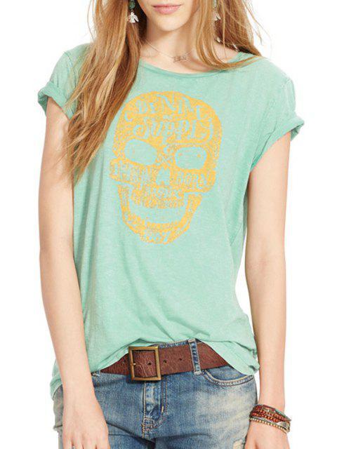 T-shirt manches courtes Skull Print - Vert L Mobile