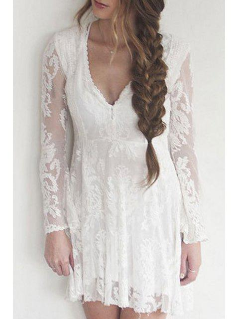 outfits Lace Plunging Neck Long Sleeve A Line Dress - WHITE S Mobile