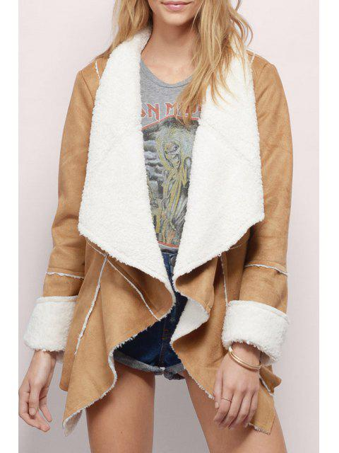 Forro de lino Suede Waterfall Coat - Caqui L Mobile