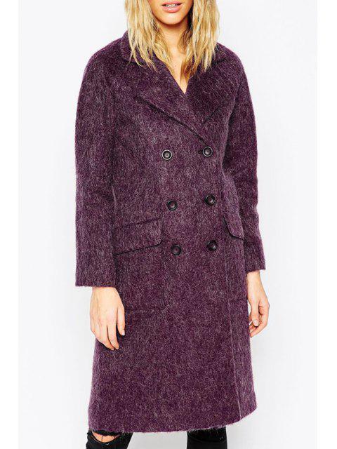 fashion Lapel Double-Breasted Purple Wool Coat - PURPLE XS Mobile