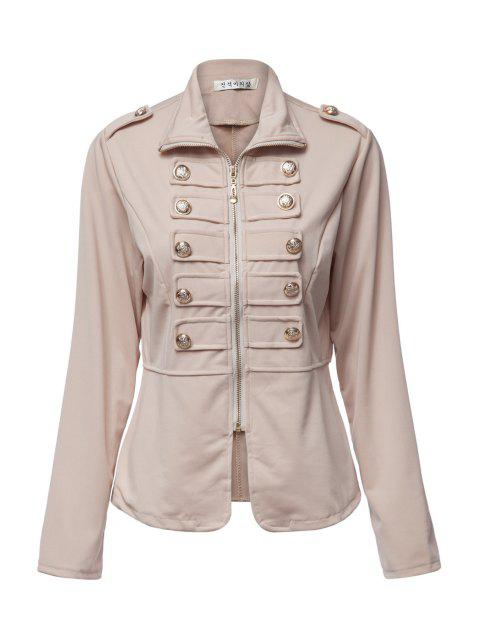 best Stand-Up Collar Solid Color Zipper Fly Coat - DARK KHAKI L Mobile
