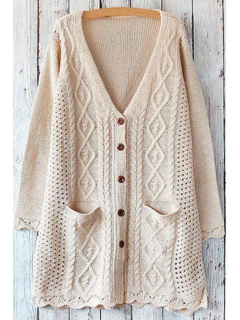 women's Cable Knit Single-Breasted Cardigan - OFF-WHITE ONE SIZE(FIT SIZE XS TO M) Mobile