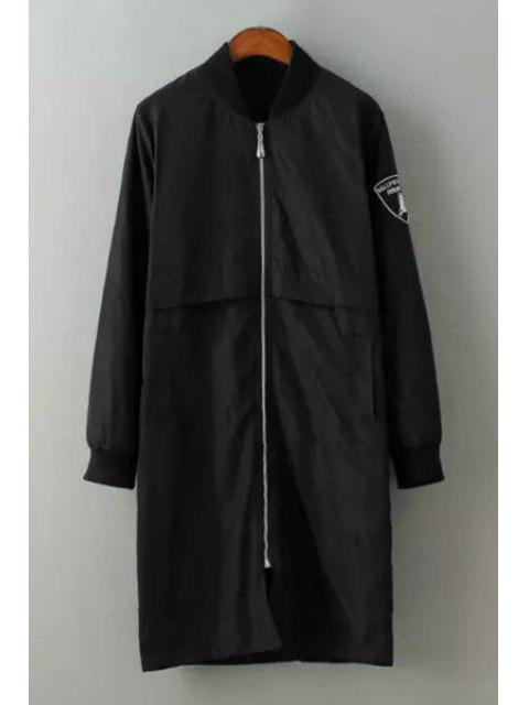 new Badge Stand Collar Long Sleeves Trench Coat - BLACK M Mobile