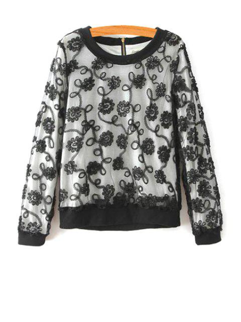 fancy Flower Print Round Collar Long Sleeves Lace Sweatshirt - BLACK L Mobile
