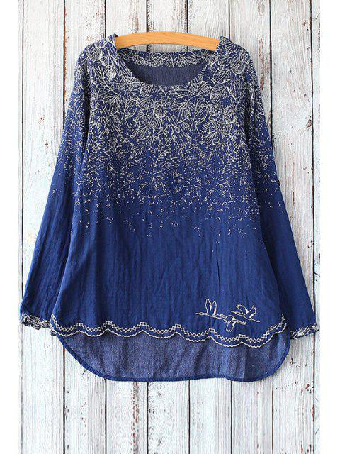 outfit Long Sleeve Tree Bird T-Shirt - PURPLISH BLUE ONE SIZE(FIT SIZE XS TO M) Mobile