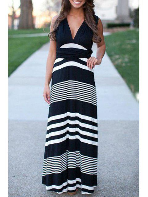 affordable Plunging Neck Sleeveless Striped Dress - WHITE AND BLACK L Mobile