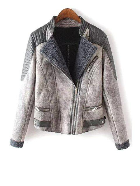 chic Stand Neck Lamb Wool Spliced Jacket - GRAY M Mobile