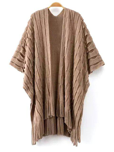 unique Tassels Half Sleeve Cardigan - KHAKI ONE SIZE(FIT SIZE XS TO M) Mobile
