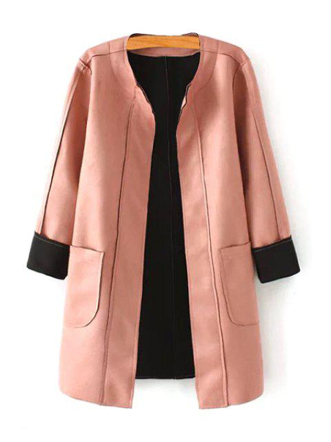 online Pink Stand Neck Long Sleeve Coat - PINK S Mobile