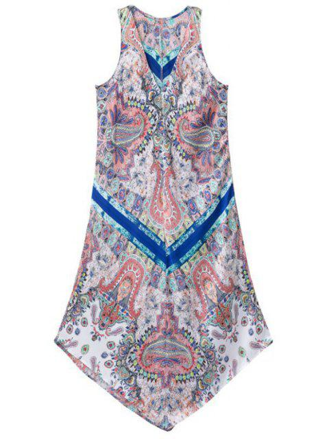 shops Printed V-Neck Sleeveless Asymmetric Dress - COLORFUL M Mobile