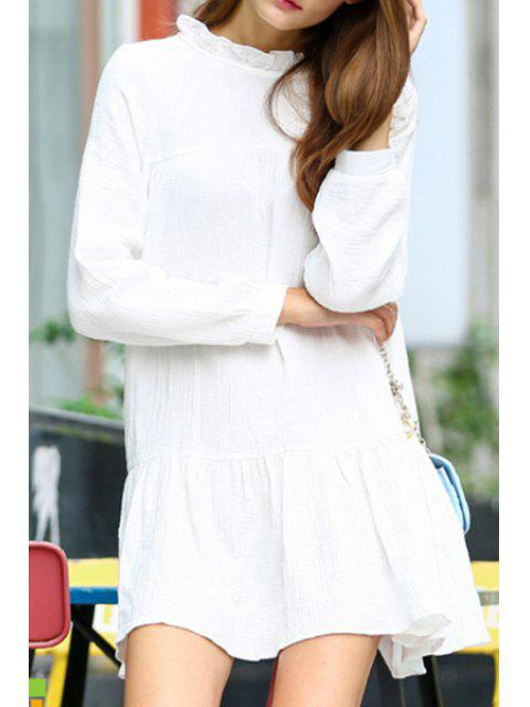 latest White Stand Neck Long Sleeve Dress - WHITE XL Mobile