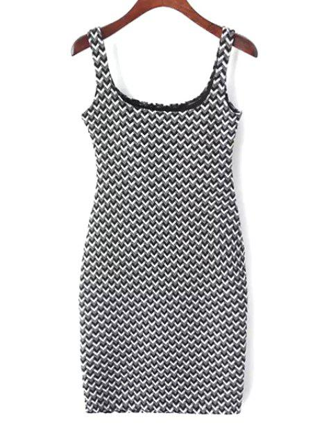 women's Suspender Jacquard Checked Dress - WHITE AND BLACK M Mobile