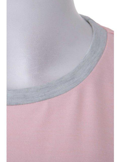 buy Pink Grey Splicing Long Sleeve Sweatshirt - PINK L Mobile