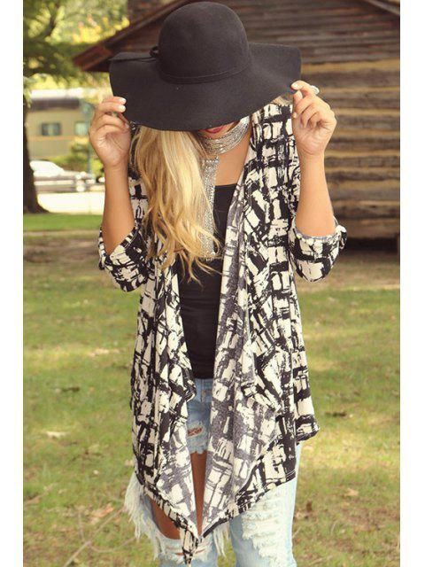 shops Checked Print Long Sleeve Coat - WHITE AND BLACK S Mobile