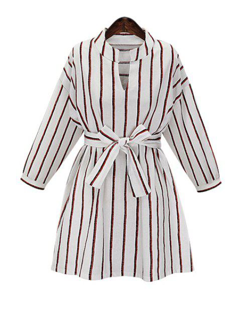 unique Striped V Neck Long Sleeve Dress - WHITE XL Mobile