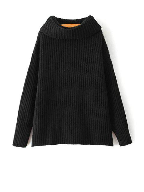 lady Loose Fitting Turtle Neck Solid Color Pullover Sweater - BLACK ONE SIZE(FIT SIZE XS TO M) Mobile