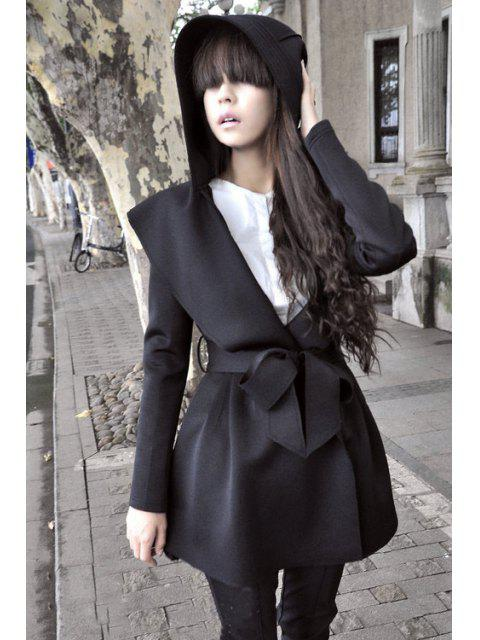 trendy Pure Color Long Sleeve Hooded Trench Coat - BLACK S Mobile