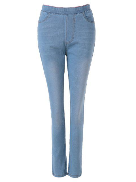 shop Bleach Wash Elastic Waist Jeans - LIGHT BLUE XL Mobile