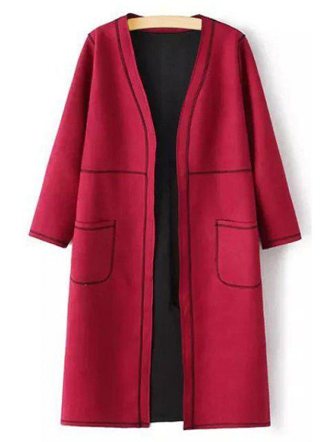 shop Pure Color V Neck 3/4 Sleeve Coat - RED L Mobile