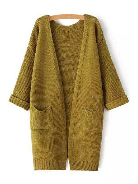 fashion Pure Color 3/4 Sleeve Cardigan - ARMY GREEN ONE SIZE(FIT SIZE XS TO M) Mobile