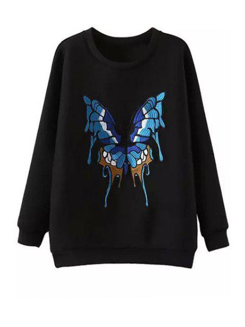 unique Butterfly Pattern Jewel Neck Long Sleeve Sweatshirt - BLACK S Mobile