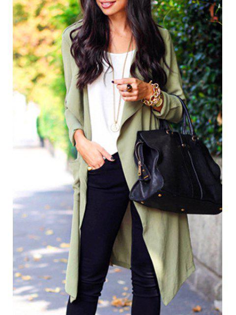 Manteau en tricot en col de couleur pure - Pois Verts L Mobile