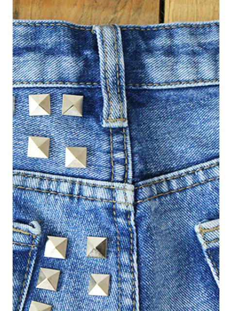 outfit Rivet Straight Leg Denim Shorts - LIGHT BLUE 34 Mobile