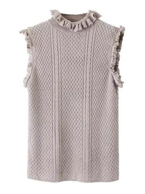 unique Solid Color Sleeveless Stand Collar Pullover Sweater - GRAY M Mobile