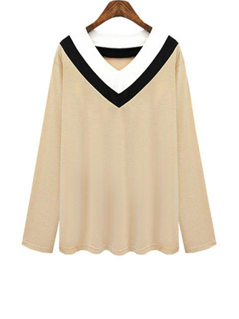 women's V Neck Color Block Stripe T-Shirt - KHAKI 3XL Mobile