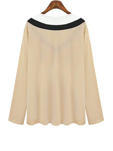 women V Neck Color Block Stripe T-Shirt - KHAKI XL Mobile