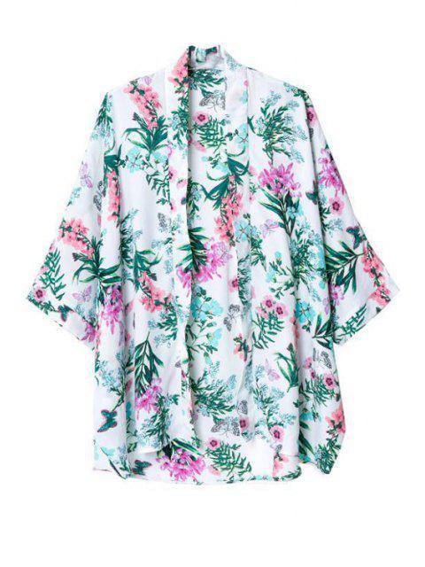 Flower Print Collarless 3/4 Sleeves Kimono - Multicolore M Mobile