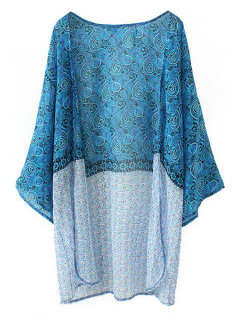 womens Paisley Print Long Sleeves Kimono - BLUE S Mobile