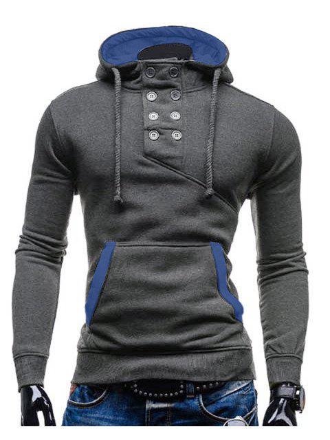 De moda con capucha doble de pecho de bolsillo Hemming adelgaza de manga larga de algodón con capucha Blend para los hombres - Gris L Mobile