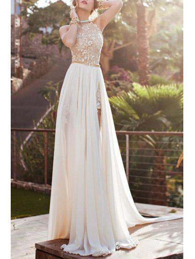 Halter Backless High Slit Maxi Dress - White S