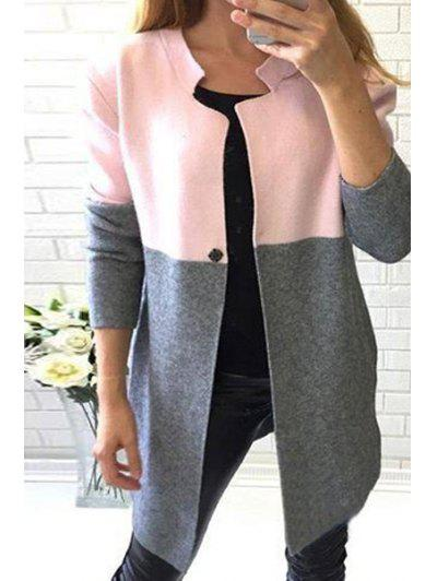 Color Block Stand Neck Long Sleeve Coat - Gray S